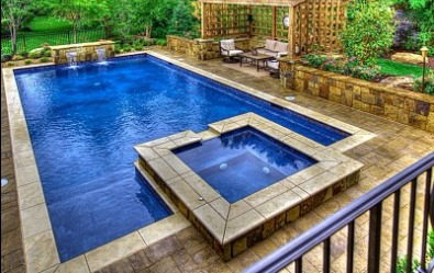 Rectangle Gunite Pool Spa