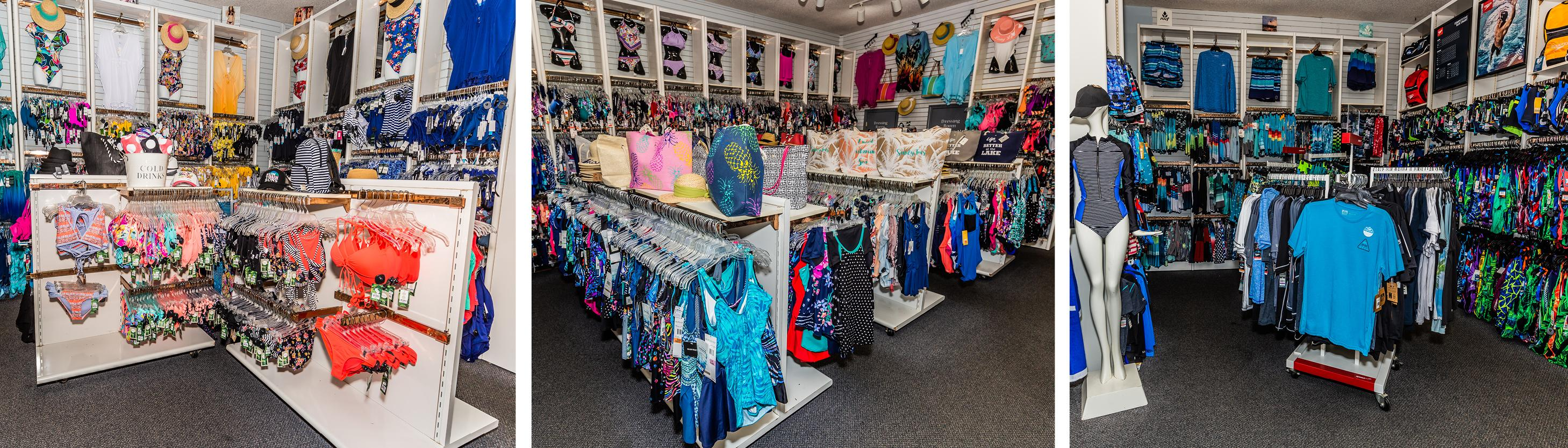 Our wide selection of swimsuits in our store